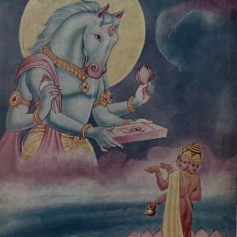Śrī Hayagrīva restoring Vedas to Brahmā